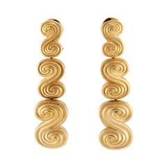 Tiffany & Co. Three-Section Long Swirl Gold Dangle Earrings