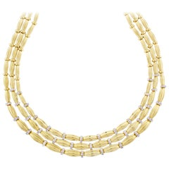 Tiffany & Co. Three-Stand Diamond Gold Necklace