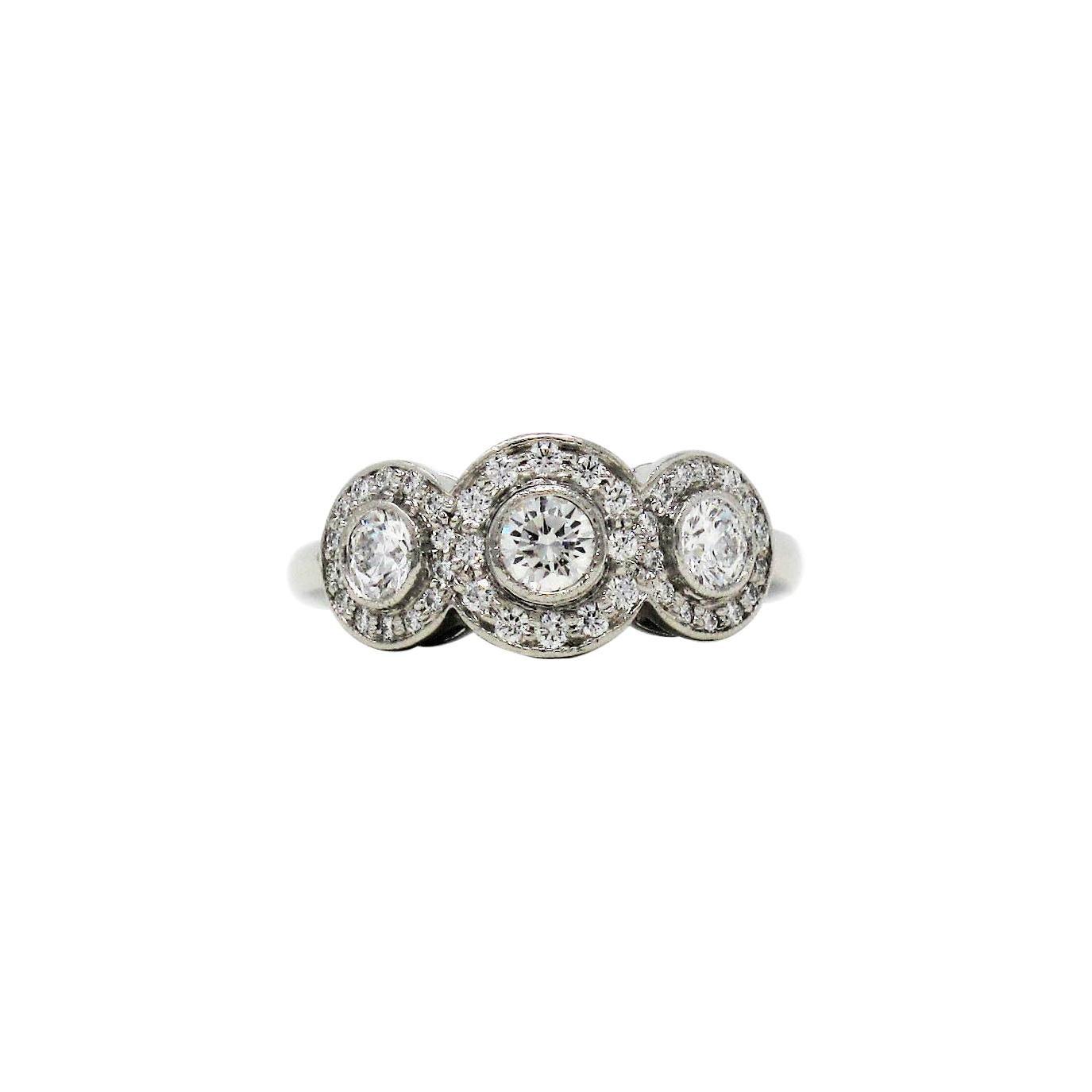 Tiffany & Co. Three Stone Circlet Diamond Halo Ring in Platinum .55 Carats Total