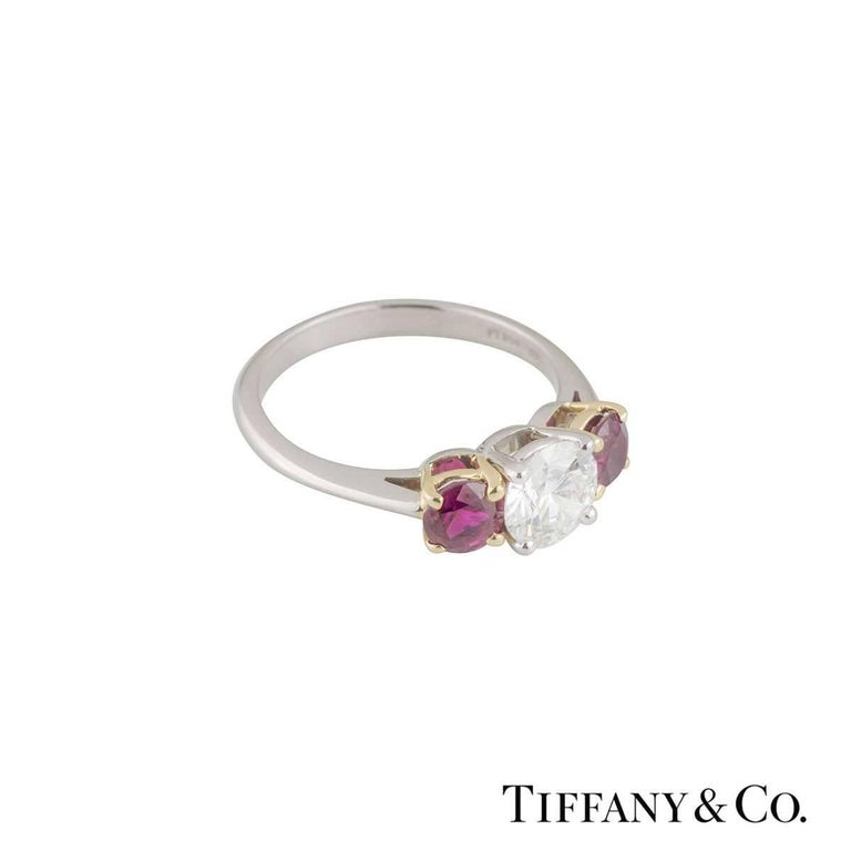 Round Cut Tiffany & Co. Three-Stone Diamond and Ruby Engagement Ring 1.26 Carat For Sale