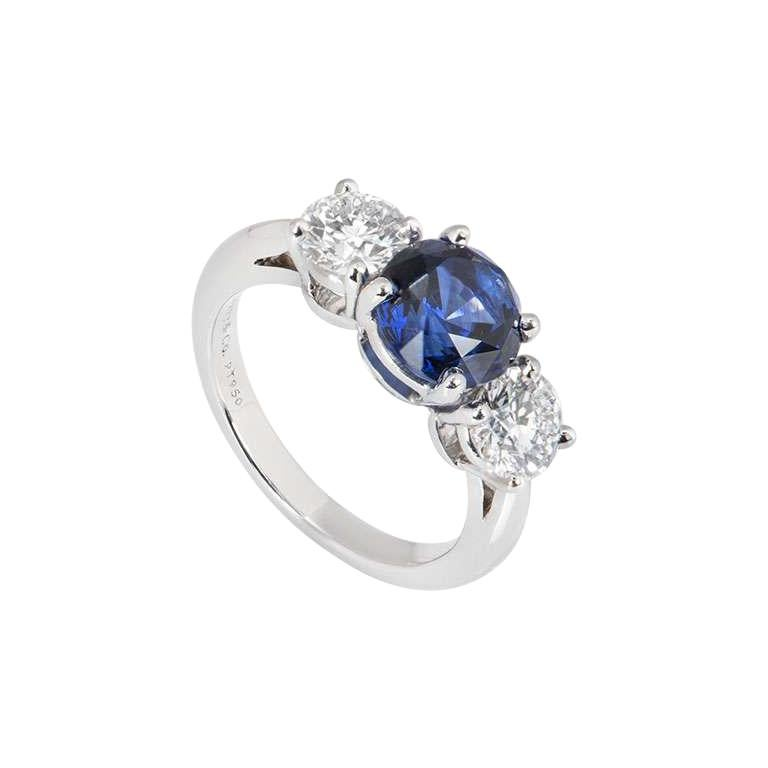 Tiffany & Co. Three Stone Diamond and Sapphire Platinum Ring For Sale