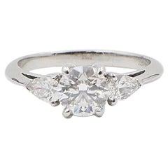 Tiffany & Co. Three-Stone Diamond Engagement Ring 1.60 Carat E VVS1 Platinum