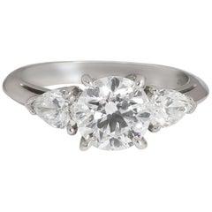 Tiffany & Co. Three-Stone Diamond Engagement Ring in Platinum F VS1 1.67 Carat