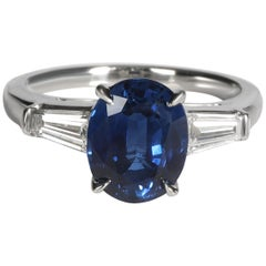 Tiffany & Co. Three-Stone Sapphire and Diamond Ring in Platinum 0.50 Carat
