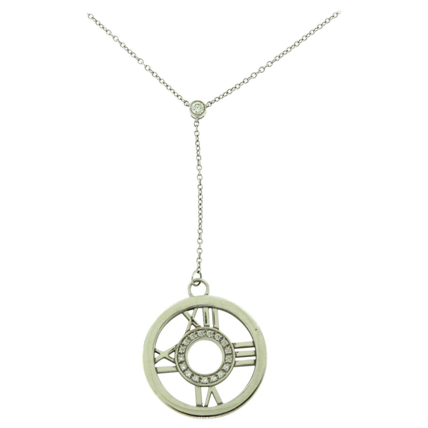 Tiffany & Co. Tiffany Atlas Diamond Circle Roman Numeral Gold Necklace Pendant