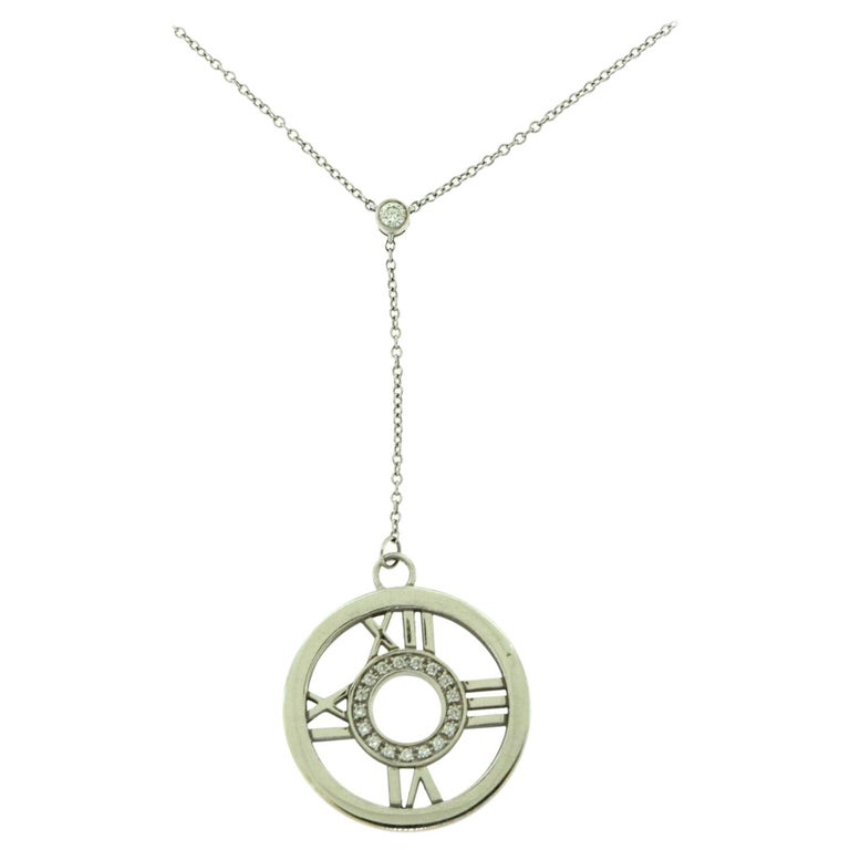 Tiffany & Co. Tiffany Atlas Diamond Circle Roman Numeral Gold Necklace Pendant For Sale