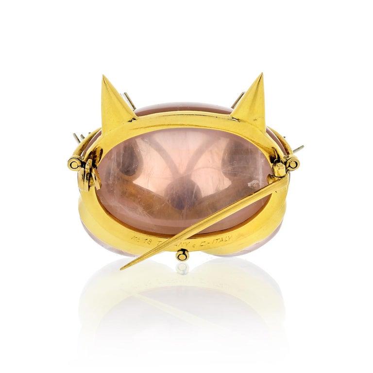 Cabochon Tiffany & Co. Pink Cat Face Quartz 18 Karat Brooch For Sale