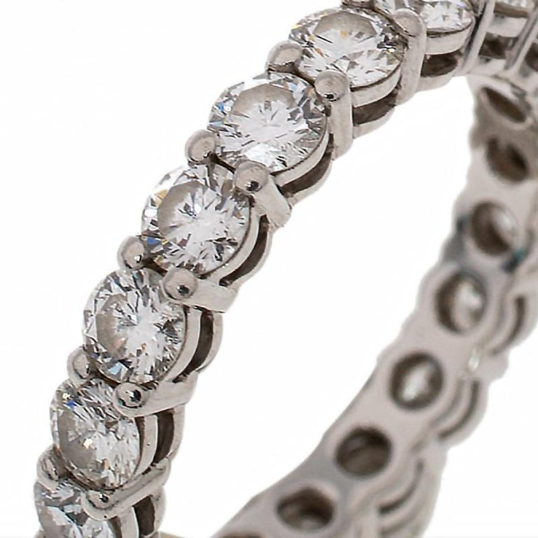 Contemporary Tiffany & Co. Tiffany Embrace Diamond Platinum Eternity Band Ring 46 For Sale