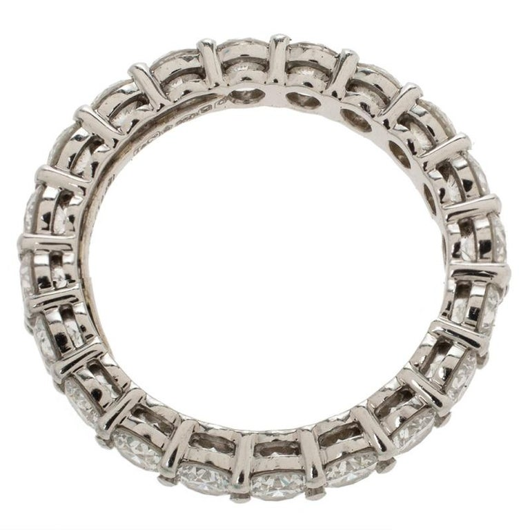 Women's Tiffany & Co. Tiffany Embrace Diamond Platinum Eternity Band Ring 46 For Sale