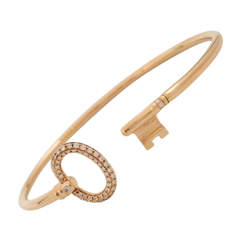 Tiffany & Co. 'Tiffany Keys' Rose Gold and Diamond Wire Bracelet