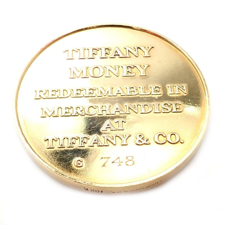 """Women's or Men's Tiffany & Co. """"Tiffany Money"""" $1,000 Solid Yellow Gold Token Coin For Sale"""