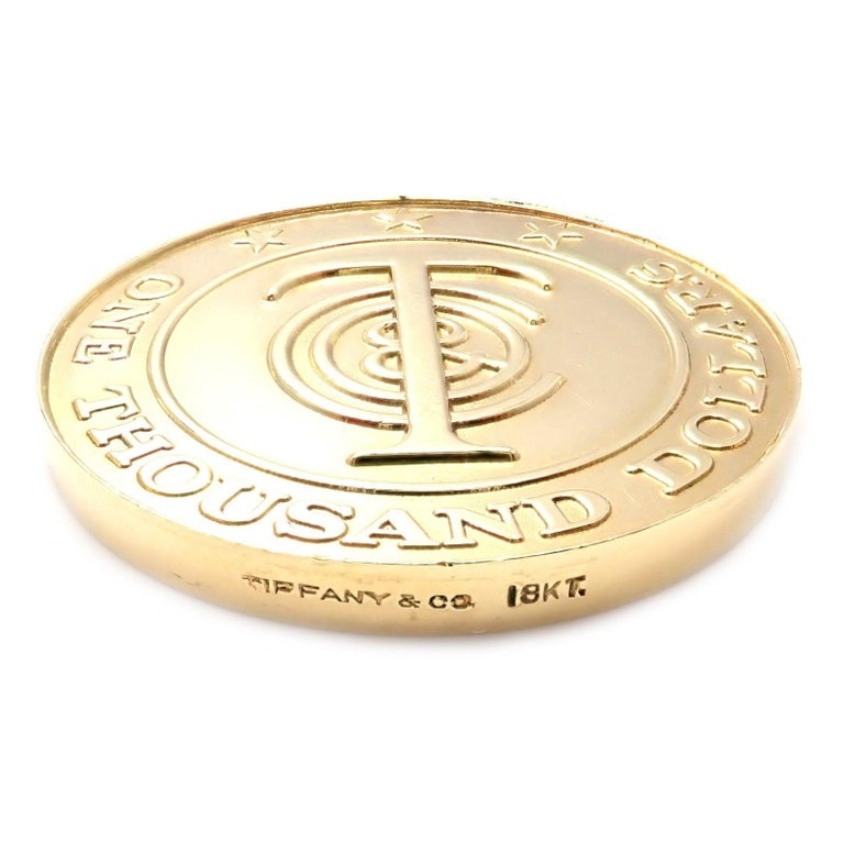 """Tiffany & Co. """"Tiffany Money"""" $1,000 Solid Yellow Gold Token Coin For Sale 1"""