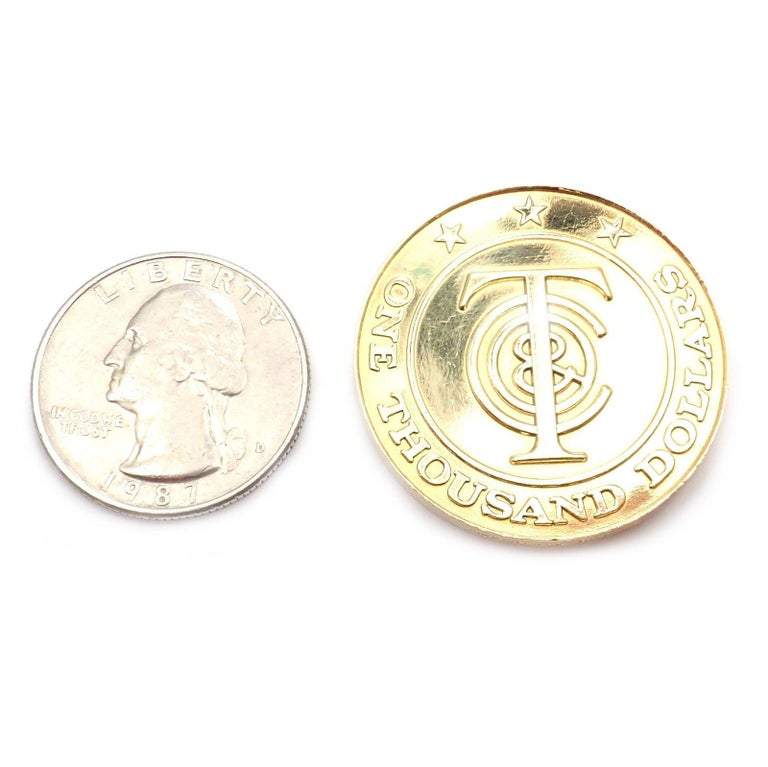 """Tiffany & Co. """"Tiffany Money"""" $1,000 Solid Yellow Gold Token Coin For Sale 2"""