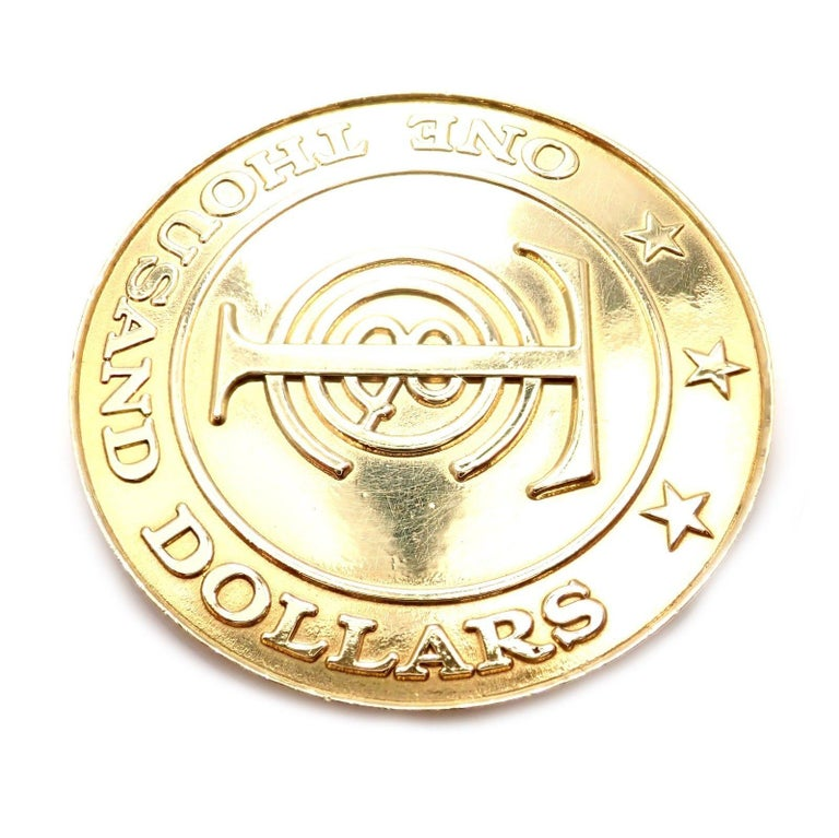 """Tiffany & Co. """"Tiffany Money"""" $1,000 Solid Yellow Gold Token Coin For Sale 3"""