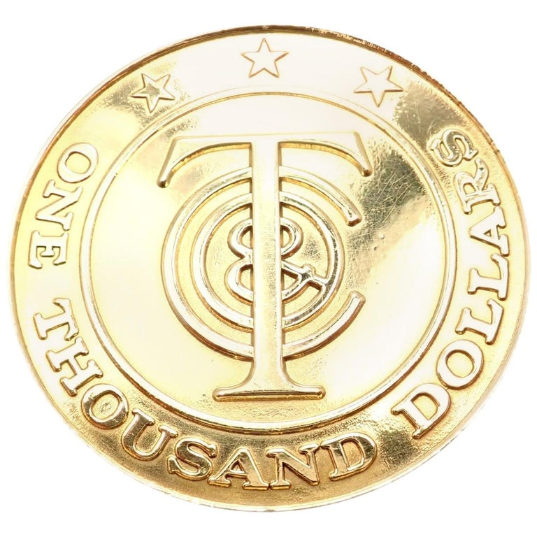 """Tiffany & Co. """"Tiffany Money"""" $1,000 Solid Yellow Gold Token Coin For Sale"""
