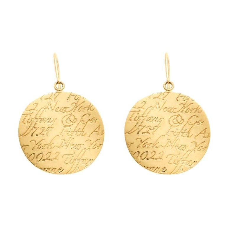 Tiffany & Co. Tiffany Notes Engraved 18k Yellow Gold Round Hook Earrings For Sale