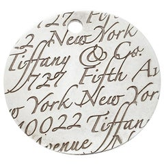 Tiffany & Co. Tiffany Notes Fifth Avenue New York Engraved Circular Pendant