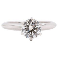 Tiffany & Co. Tiffany Round Diamond 1.00 Carat Engagement Ring Platinum