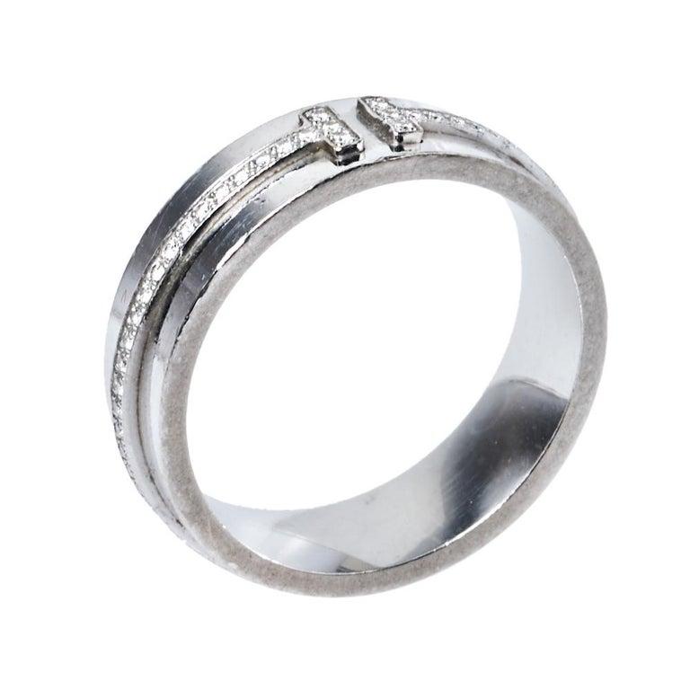 Tiffany & Co. Tiffany T Diamond 18K White Gold Wide Ring Size 53 In Good Condition For Sale In Dubai, Al Qouz 2