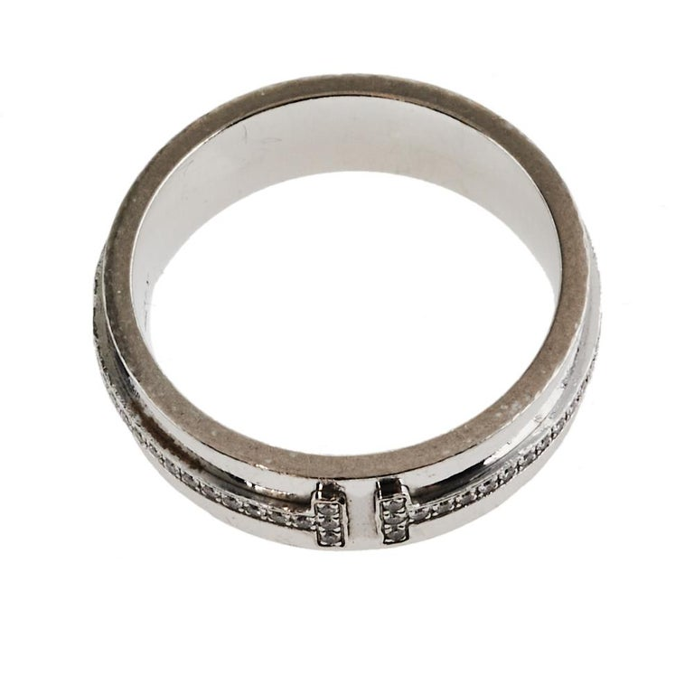 Women's Tiffany & Co. Tiffany T Diamond 18K White Gold Wide Ring Size 53 For Sale