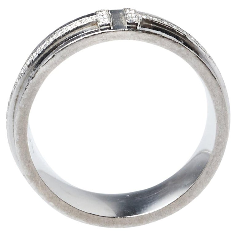 Tiffany & Co. Tiffany T Diamond 18K White Gold Wide Ring Size 53 For Sale