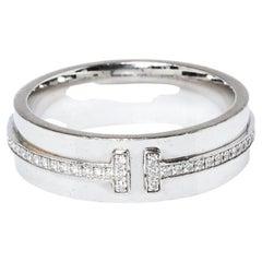 Tiffany & Co. Tiffany T Diamond 18K White Gold Wide Ring Size 53
