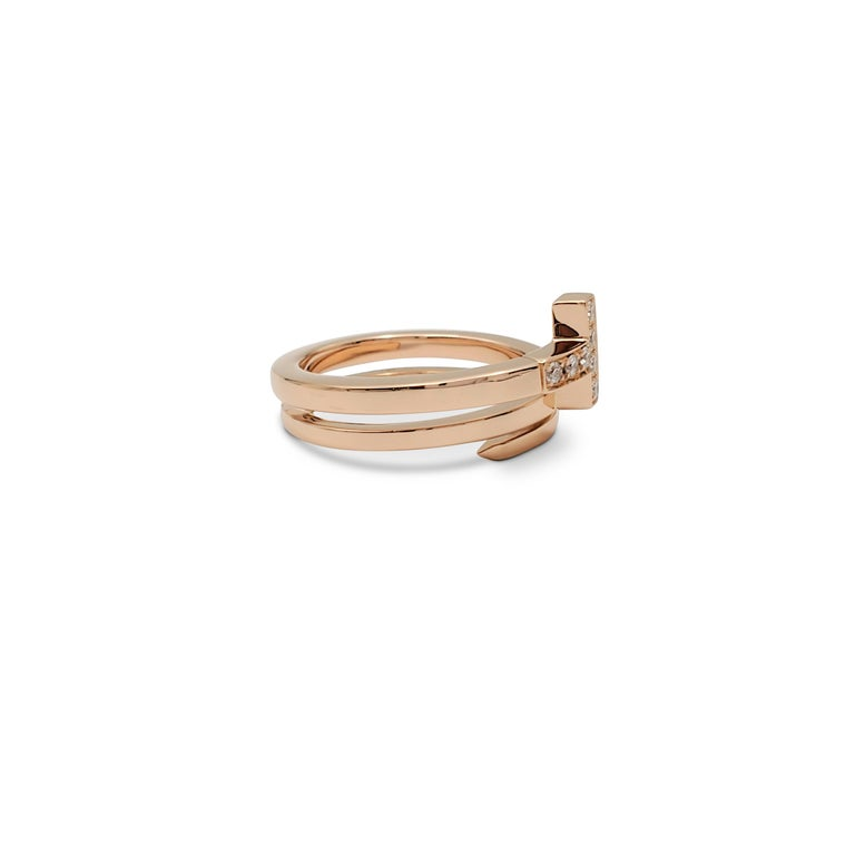 Round Cut Tiffany & Co. 'Tiffany T' Rose Gold and Diamond Square Wrap Ring