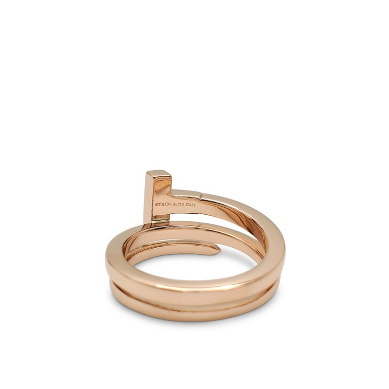 Tiffany & Co. 'Tiffany T' Rose Gold and Diamond Square Wrap Ring In Excellent Condition In New York, NY