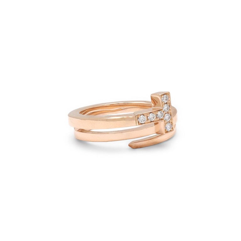 Tiffany & Co. Tiffany T Rose Gold and Diamond Square Wrap Ring In Excellent Condition For Sale In New York, NY