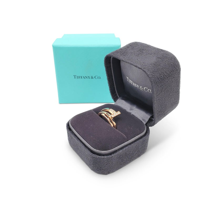 Women's Tiffany & Co. 'Tiffany T' Rose Gold and Diamond Square Wrap Ring
