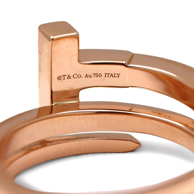 Women's or Men's Tiffany & Co. Tiffany T Rose Gold and Diamond Square Wrap Ring For Sale