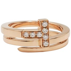 Tiffany & Co. 'Tiffany T' Rose Gold and Diamond Square Wrap Ring