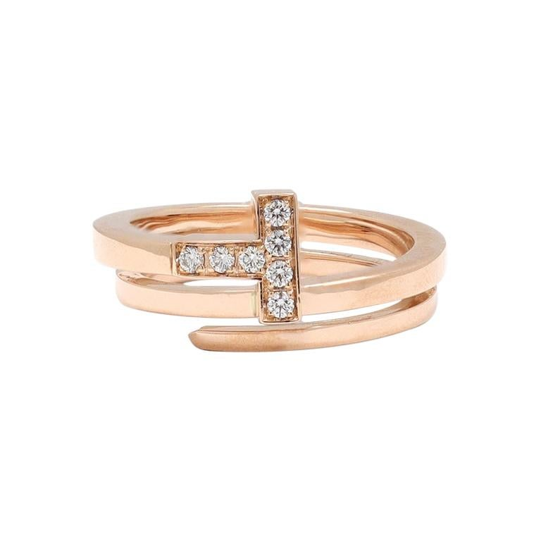 Tiffany & Co. Tiffany T Rose Gold and Diamond Square Wrap Ring For Sale