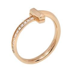 Tiffany & Co. Tiffany T T1 Diamond 18K Rose Gold Ring Size 55