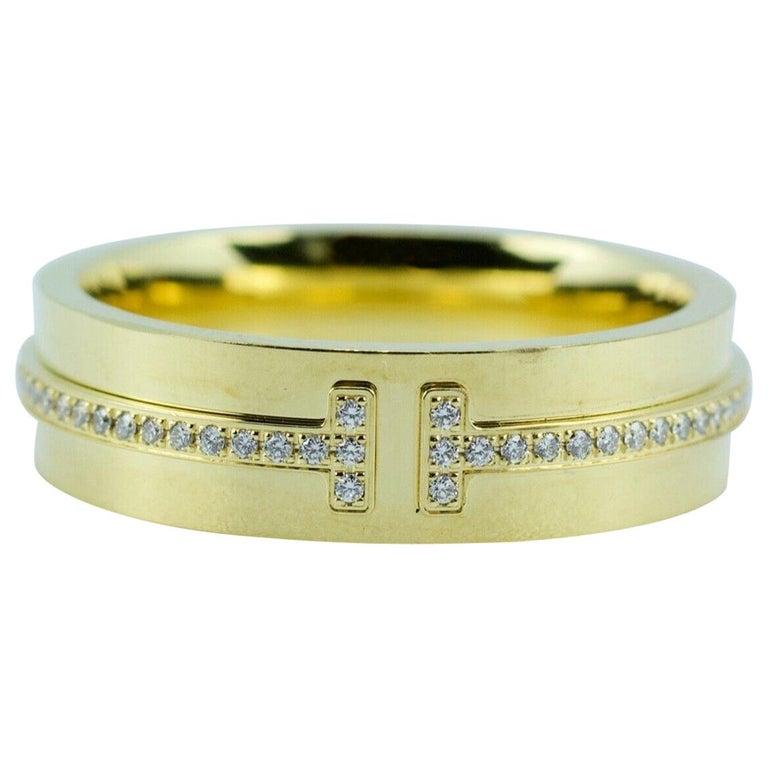 Tiffany & Co. Tiffany T-Wide Diamond Ring 18 Karat Yellow Gold For Sale
