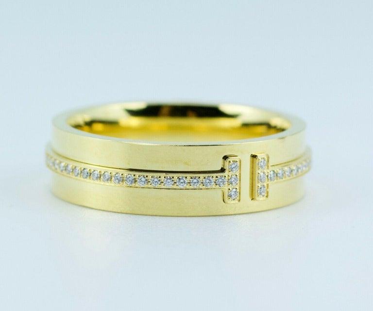 Modern Tiffany & Co. Tiffany T-Wide Diamond Ring 18 Karat Yellow Gold For Sale
