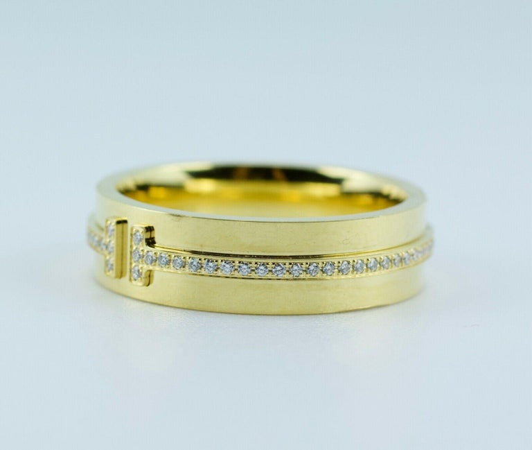 Tiffany & Co. Tiffany T-Wide Diamond Ring 18 Karat Yellow Gold In Good Condition For Sale In Montgomery, AL