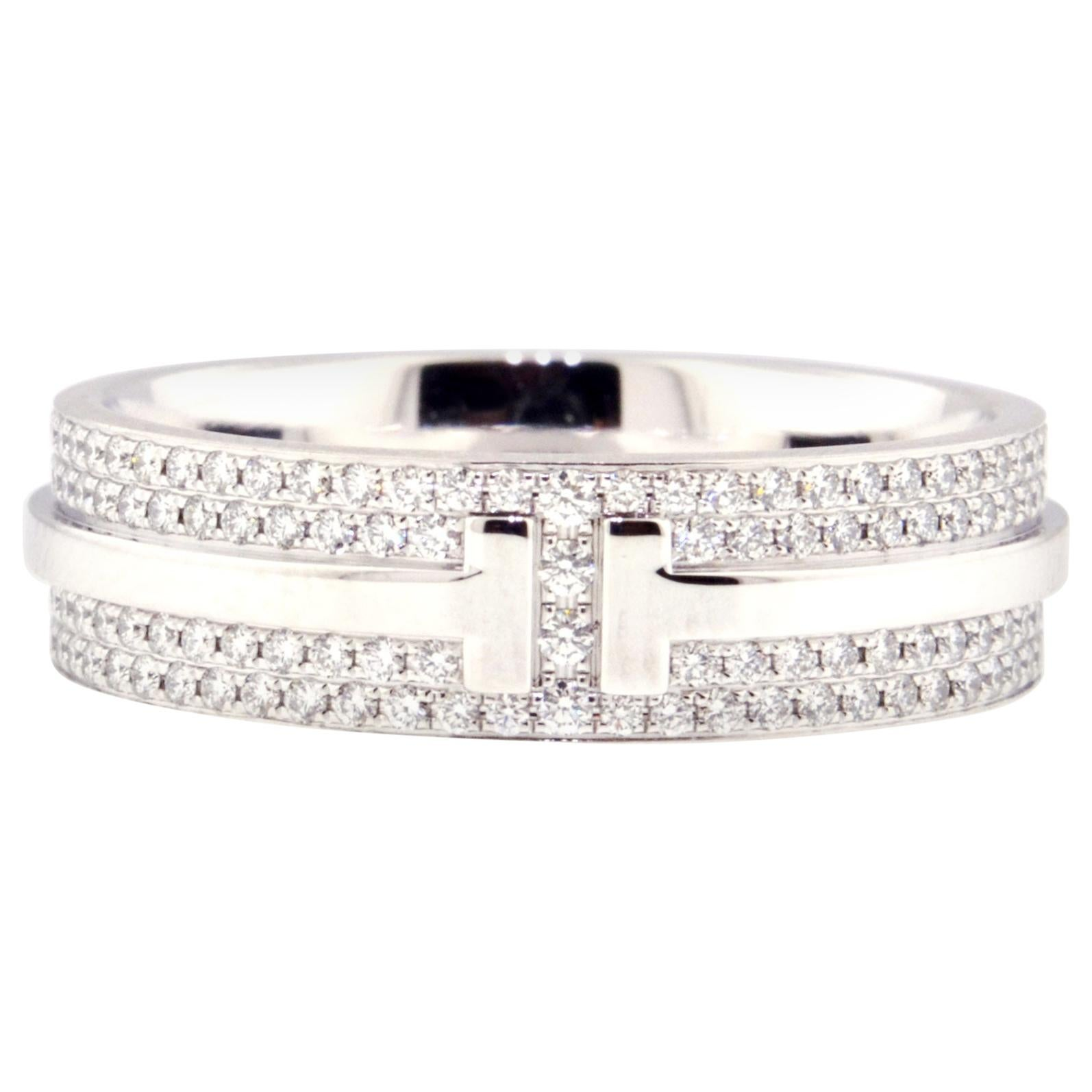Tiffany & Co. Tiffany T Wide Pave Diamond Band Ring in 18 Karat White Gold
