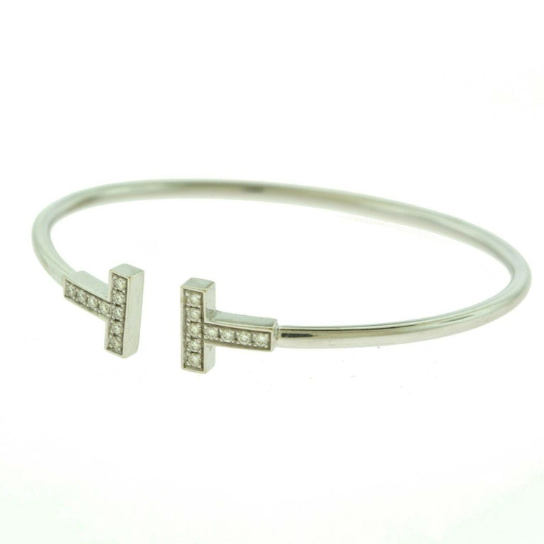 Tiffany And Co Tiffany T Wire Bracelet With Diamonds In White Gold At 1stdibs