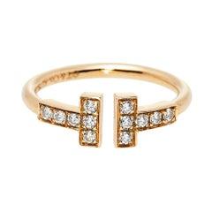 Tiffany & Co. Tiffany T Wire Diamond 18K Rose Gold Ring Size 48