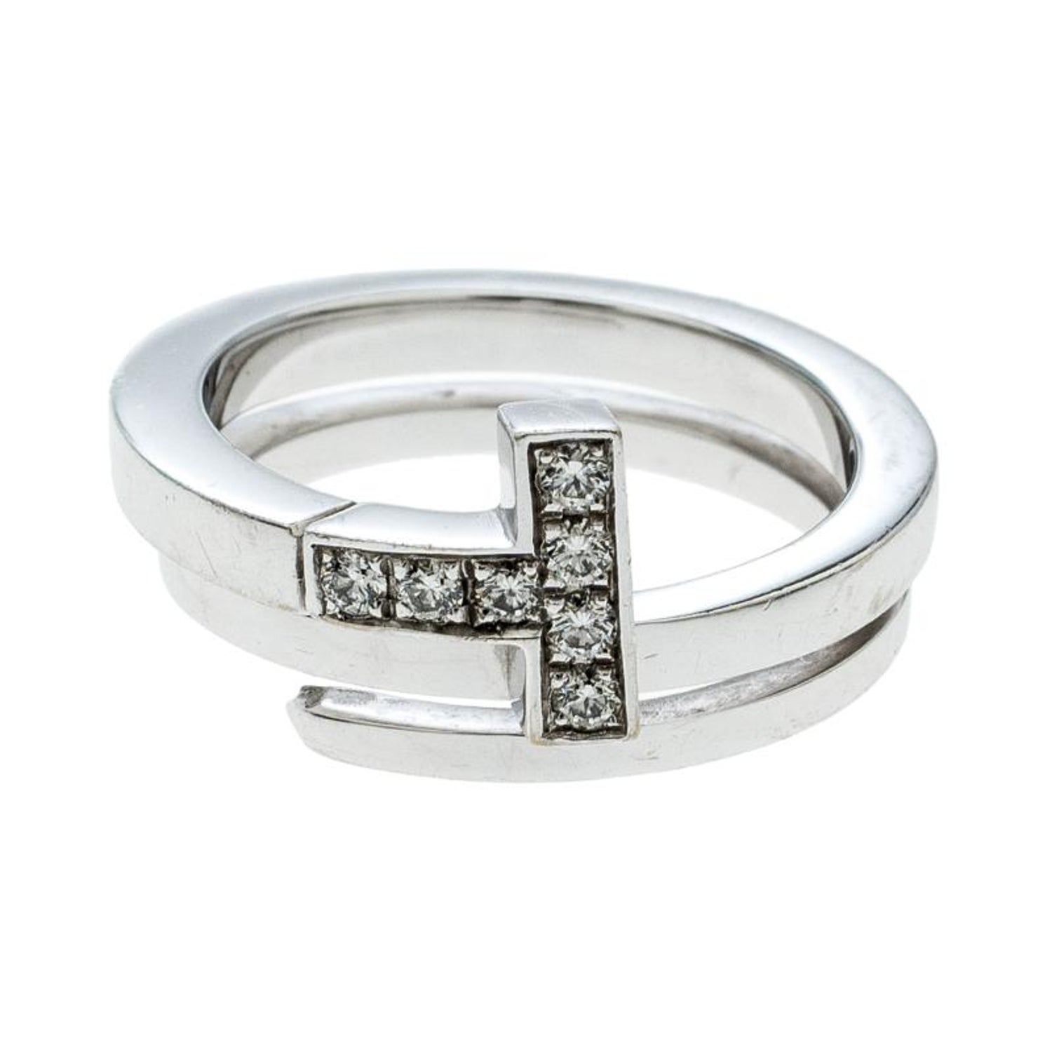 4e5fd7a2f Tiffany and Co. Tiffany T Wrap Diamond 18k White Gold Ring Size 50 For Sale  at 1stdibs