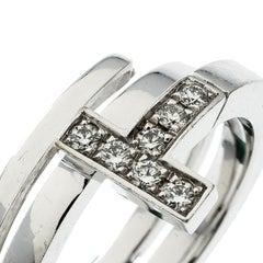 Tiffany & Co. Tiffany T Wrap Diamond 18k White Gold Ring Size 50