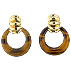 Tiffany & Co. Tiger Eye Yellow Gold Shrimp Door Knocker Earrings