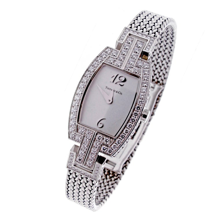 1010f0b2b10 Tiffany and Co. ladies White Gold Diamonds Tonneau quartz Wristwatch For  Sale at 1stdibs