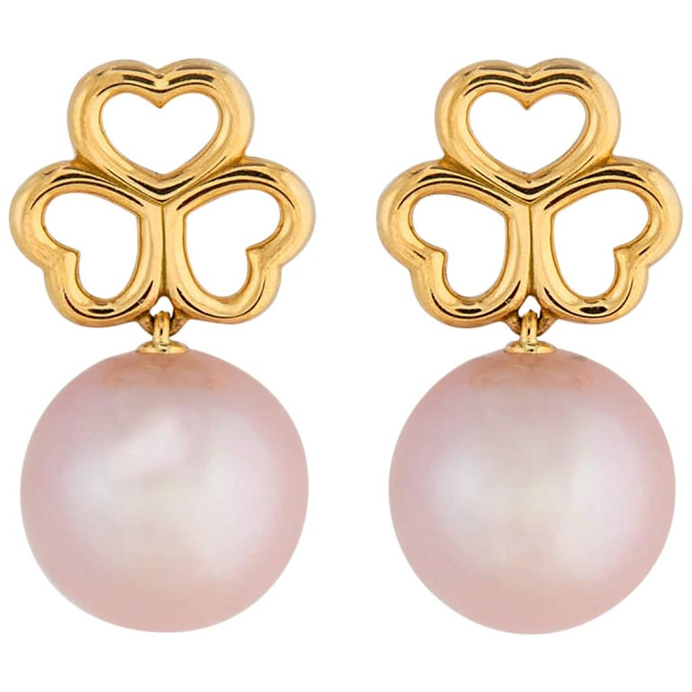 Tiffany & Co. Triple Heart and Pearl Drop Earrings For Sale