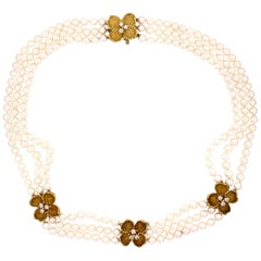 Tiffany & Co. Triple-Strand Pearl and Diamond Gold Necklace Fine Estate Jewelry