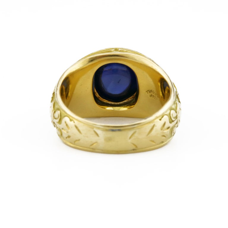 Tiffany & Co. Gilded Age Men's Sapphire Cabochon Ring in Gothic Setting For Sale 3
