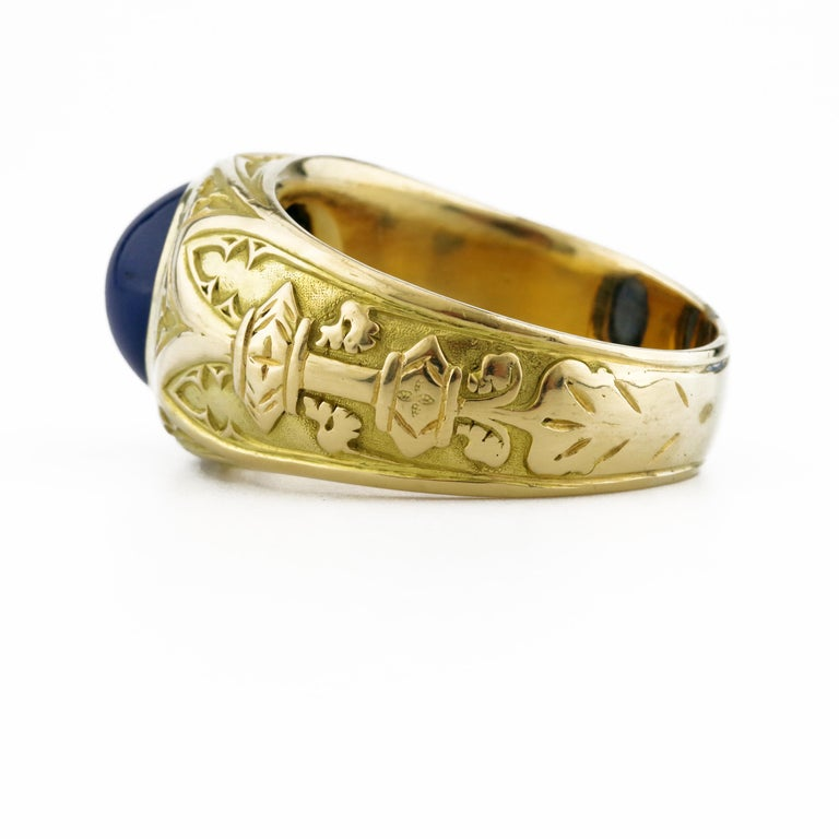 Tiffany & Co. Gilded Age Men's Sapphire Cabochon Ring in Gothic Setting For Sale 5