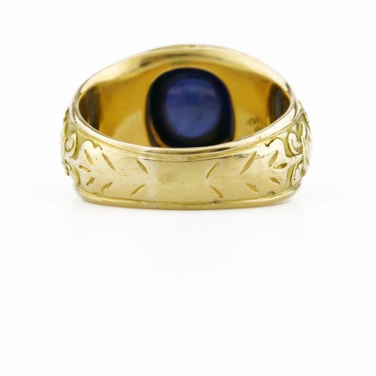 Tiffany & Co. Gilded Age Men's Sapphire Cabochon Ring in Gothic Setting For Sale 2
