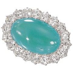Tiffany & Co. Turquoise and Diamond Brooch 18 Karat Yellow and Platinum
